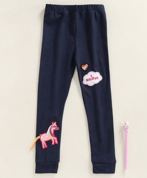 Kookie Kids Full Length Leggings Unicorn Patch - Navy Blue