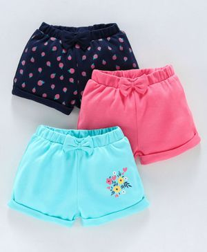 Babyoye Cotton Shorts Fruit & Floral Print Pack of 3 - Pink Blue