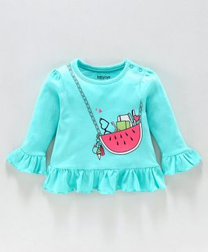 Babyoye Full Sleeves Cotton Top Fruit Print - Teal Blue