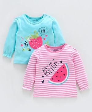 Babyoye Full Sleeves Cotton Tops Fruits Print Pack of 2 - Blue Pink