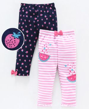 Babyoye Full Length Cotton Leggings Striped & Printed Pack of 2 - Navy Blue Pink