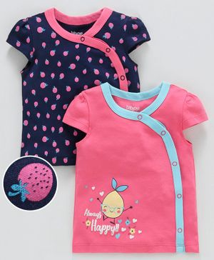 Babyoye Cap Sleeves Printed Vests Pack of 2 - Pink Navy Blue