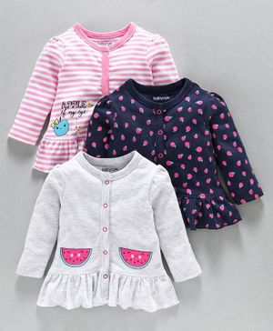 Babyoye Full Sleeves Cotton Vests Fruit Print Pack of 3 - Pink Navy Grey
