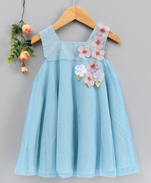 Kookie Kids Sleeveless Party Frock Felt Floral Patch - Blue