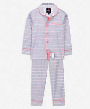 Cherry Crumble California Full Sleeves Striped Night Suit - Grey