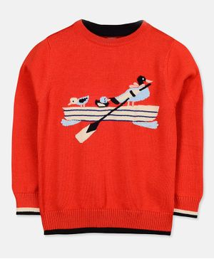 Cherry Crumble California Full Sleeves Duck Pattern Sweater - Red