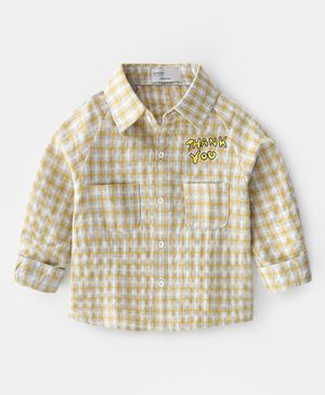 Pre Order - Awabox Checkered Full Sleeves Shirt - Yellow