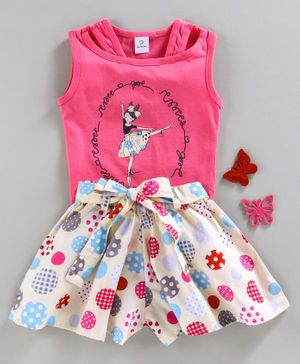 Doreme Sleeveless Top And Shorts Ballerina Print - Pink Cream