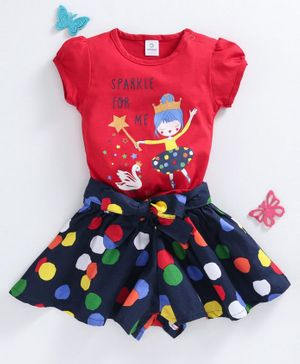 Doreme Short Sleeves Top And Printed Skirt - Red Navy Blue