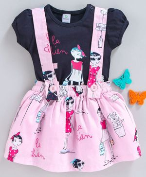 Doreme Short Sleeves Top & Skirt with Suspender Girl Print - Pink Navy