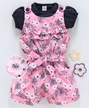Doreme Sleeveless Dungaree With Tee Floral Print - Pink Navy