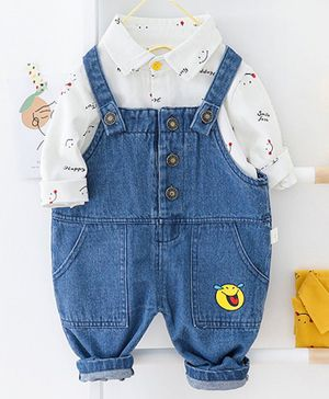 Pre Order - Awabox Smiley Print Full Sleeves Shirt With Dungaree - White & Blue