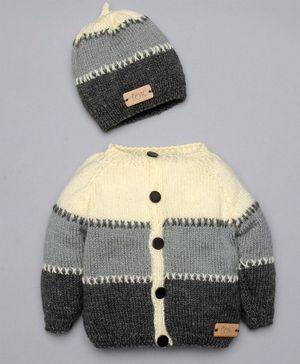 The Original Knit Color Block Full Sleeves Sweater With Cap - Multi Color