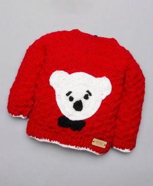 The Original Knit Teddy Design Full Sleeves Sweater - Red