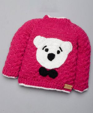The Original Knit Teddy Face Design Full Sleeves Sweater - Pink