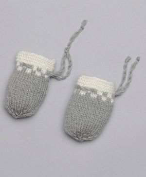 The Original Knit Square Pattern Mittens - Grey