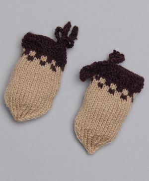 The Original Knit Colour Blocked Mittens - Brown
