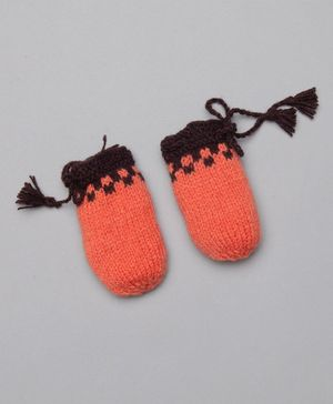 The Original Knit Colour Blocked Mittens - Orange