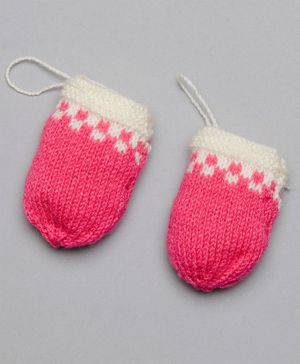 The Original Knit Colour Blocked Mittens - Pink