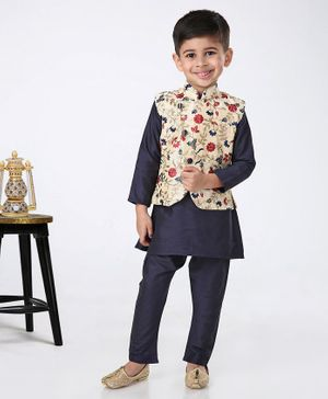 Ethnik's Neu-Ron Full Sleeves Kurta Pyjama With Floral Embroidered Jacket - Navy Blue Cream