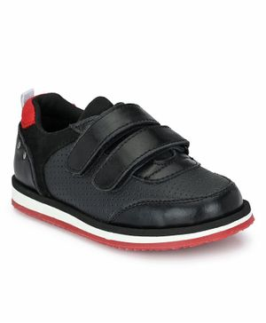 Tuskey Solid Double Velcro Closure Shoe - Black