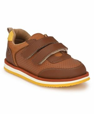 Tuskey Solid Double Velcro Closure Shoe - Brown