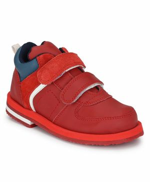 Tuskey Solid Double Velcro Closure Shoe - Red