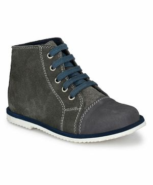 Tuskey Lace Up Ankle Length Boots - Grey