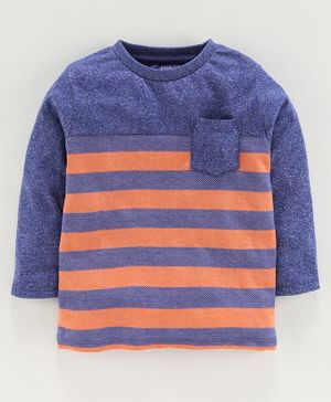 Ventra Full Sleeves Striped Tee - Blue
