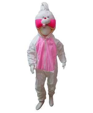 BookMyCostume Rabbit Themed Full Sleeves Costume - White & Pink