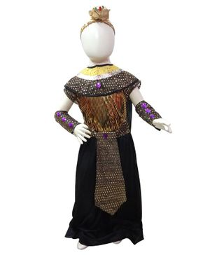 BookMyCostume Sequin Egyptian Queen Half Sleeves Costume With Headgear - Black