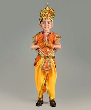 BookMyCostume Indian King Themed Sleeveless Costume - Yellow & Orange