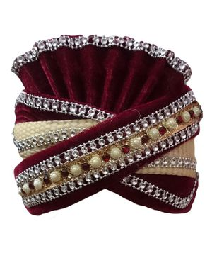 BookMyCostume Indian Dulha Pagdi Indian Wedding Turban - Beige & Maroon