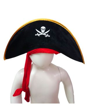 BookMyCostume Sea Pirate Hat Costume Accessories Halloween Theme - Black & Red