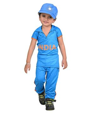 BookMyCostume Half Sleeves Indian Cricket Team Cricketer Fancy Dress Costume - Blue