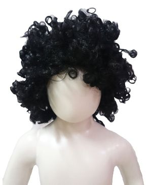 BookMyCostume Black Curly Hair Wig Unisex Fancy Dress Costume Accessory - Black