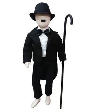 BookMyCostume Full Sleeves Charlie Chaplin Famous Comic Character Kids Fancy Dress Costume - Black & White