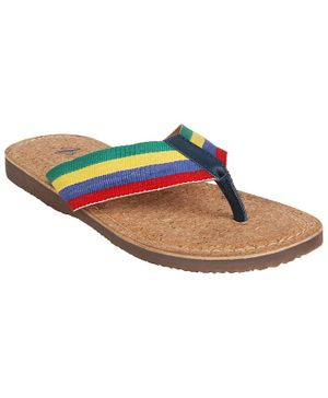 Aria+Nica Striped Strap Flip Flops - Multi Color