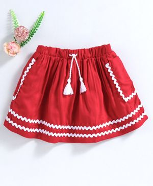 Babyhug Cotton Twill Mid Thigh Skirt - Red