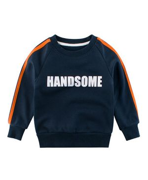 Pre Order - Awabox Full Sleeves Handsome Print Sweatshirt - Navy Blue
