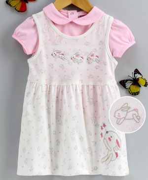 Doreme Half Sleeves Frock with Inner Tee Rabbit Print - White Pink