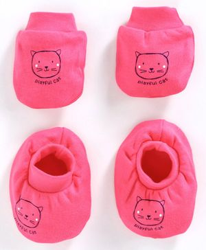 Simply Mittens & Booties Set Kitty Print - Pink