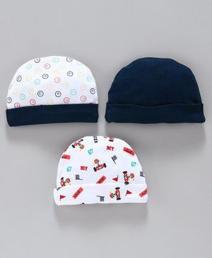 Simply Caps Pack of 3 Solid Color & Printed - Blue White
