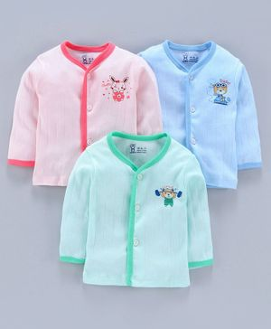 Pink Rabbit 100% Cotton Full Sleeves Vests Animal Print Pack of 3 - Peach Blue Green