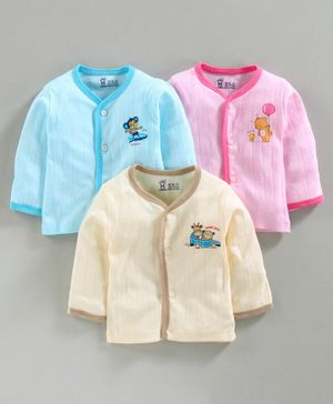 Pink Rabbit 100% Cotton Full Sleeves Vests Animal Print Pack of 3 - Pink Blue Cream