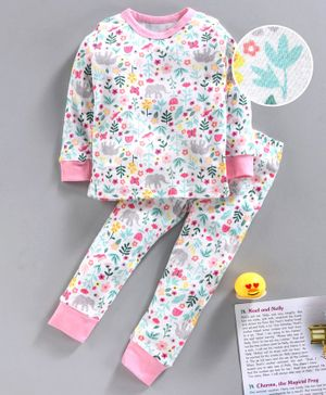 Yiyi Garden Full Sleeves Night Suit Floral Print - White Pink