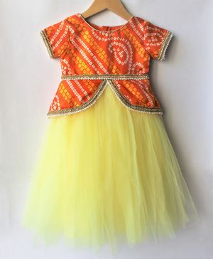 Many frocks & Bandhani Print Short Sleeves Gown - Yellow & Orange
