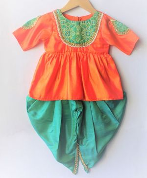 Many frocks & Patch Work Half Sleeves Peplum Top With Brocade Dhoti - Orange & Green