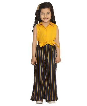 Lilpicks Couture Sleeveless Striped Collared Neck Jumpsuit - Yellow