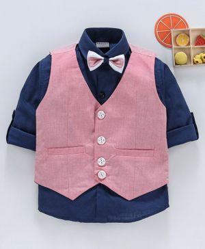 Rikidoos Solid Full Sleeves Shirt With Waistcoat & Bow Tie - Blue & Pink